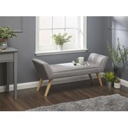 Milan Upholstered Bench Grey Hopsack