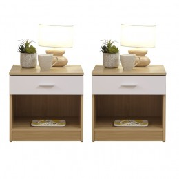 Pair of Melbourne White/Oak Bedside Table Cabinet