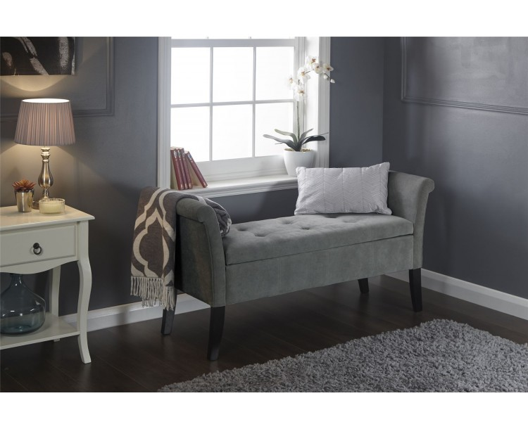 Grey Chenille Balmoral Lift Up Window Seat Storage