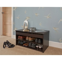 Budget Lift Up Espresso 2 Section Storage Shoe Hallway Cabinet