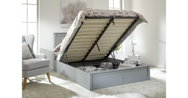 Modern Como Single 3ft 90cm Wooden Grey Lift Storage Ottoman Bed