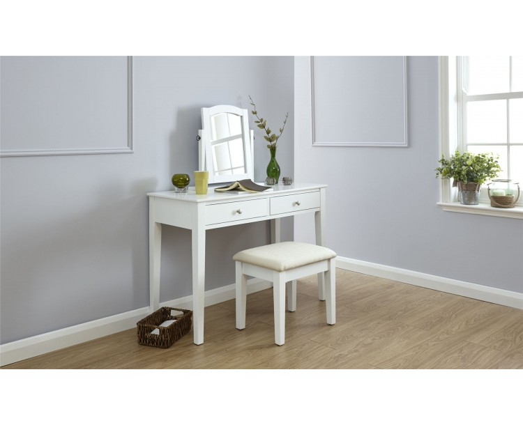 White Contemporary Hattie 2 Drawer Dressing Table And Matching Stool Set