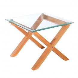 Freestanding Glass Top Cadiz Oak Lamp Table