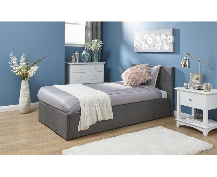 Grey Fabric 3ft Single 90cm End Lift Storage Bed Frame