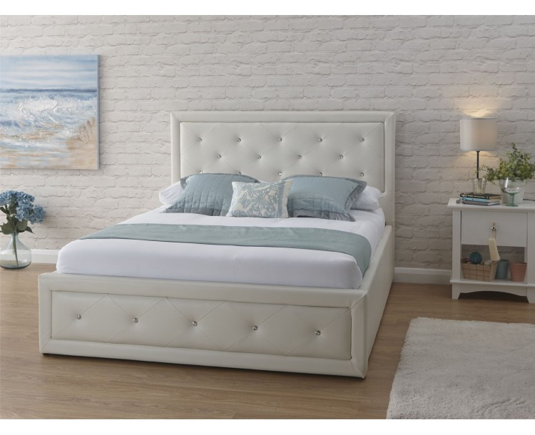 White Hollywood Faux Leather 3FT Single 90cm Ottoman End Lift Up Bed Frame