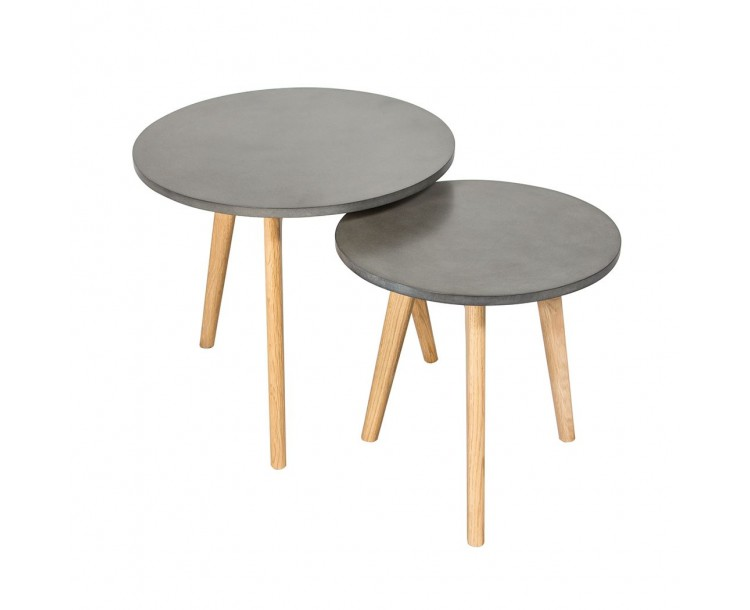 Hex Nest of 2 Concrete Effect Tables