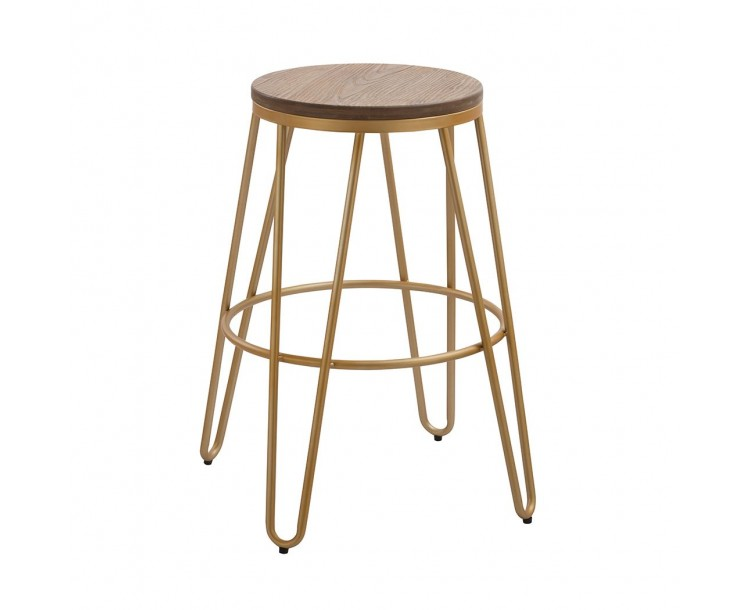 Ikon Wood Seat with Gold Effect Hairpin Legs Bar Stool