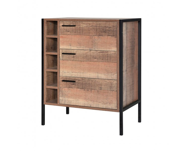 Distressed Oak Hoxton Compact Wine Cabinet
