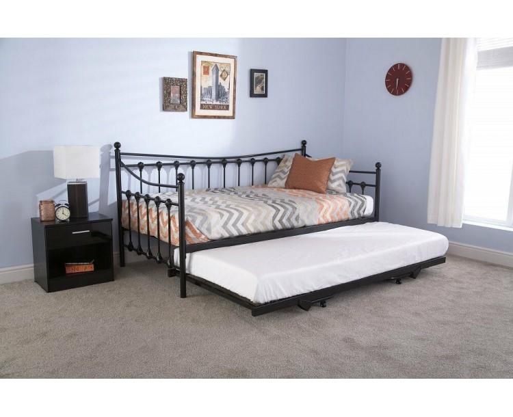 Single 3FT 90cm Black Memphis Day Bed Frame Only