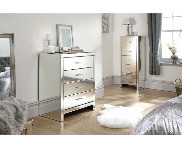 Venetian 4 Drawer Chest Clear Mirror Finish Bedroom Furniture