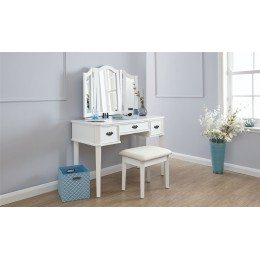 White Bella Dressing Table 3 Mirrors 3 Drawers And Fabric Padded Stool Set