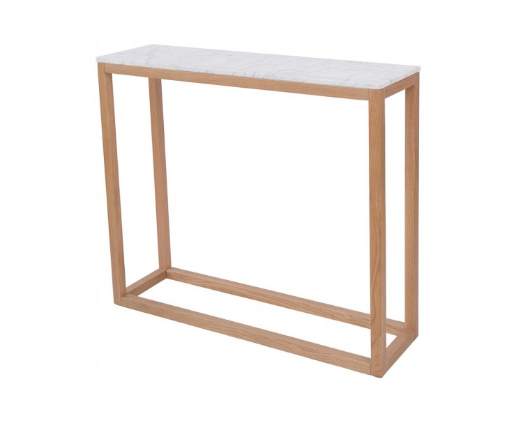Harlow Console Table Oak-White Marble Top
