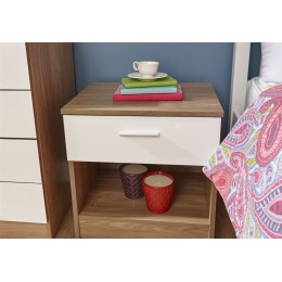 Melbourne Bedside Table Cabinet Bedroom Furniture White   Oak