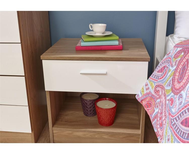 Melbourne Bedside Table Cabinet Bedroom Furniture White   Oak