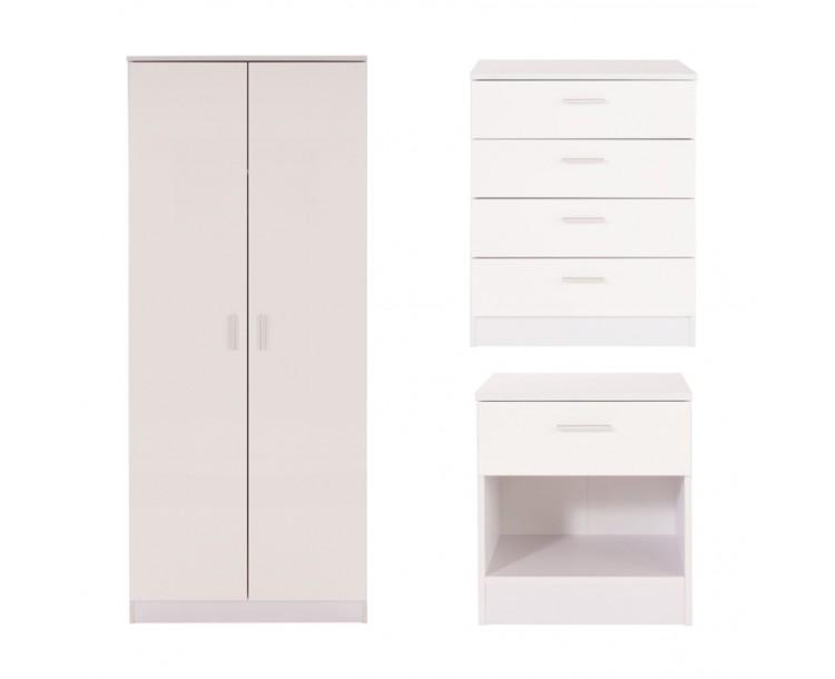 Ottawa 3 Piece Bedroom Set 2 Door Wardrobe 4 Drawer Chest Bedside Cabinet White