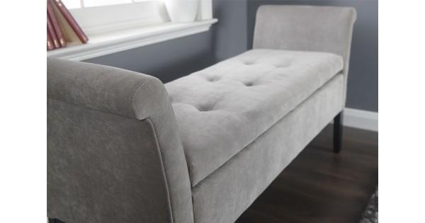 Elegant Silver Chenille Balmoral Lift Up Storage Window Seat