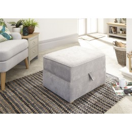 Light Grey Chenille Dauphine Square Lift Up Storage Footstool
