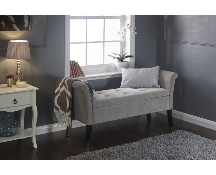 Silver Chenille Balmoral Lift Up Window Seat Storage