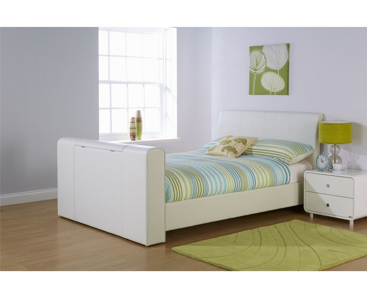 Brooklyn 5ft Kingsize 150cm Pneumatic TV Bed Bedframe White