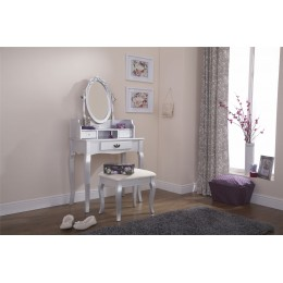 Lumberton Dresser   Stool Dressing Table Silver
