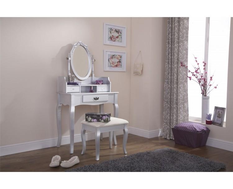 Lumberton Dresser   Stool Dressing Table Silver