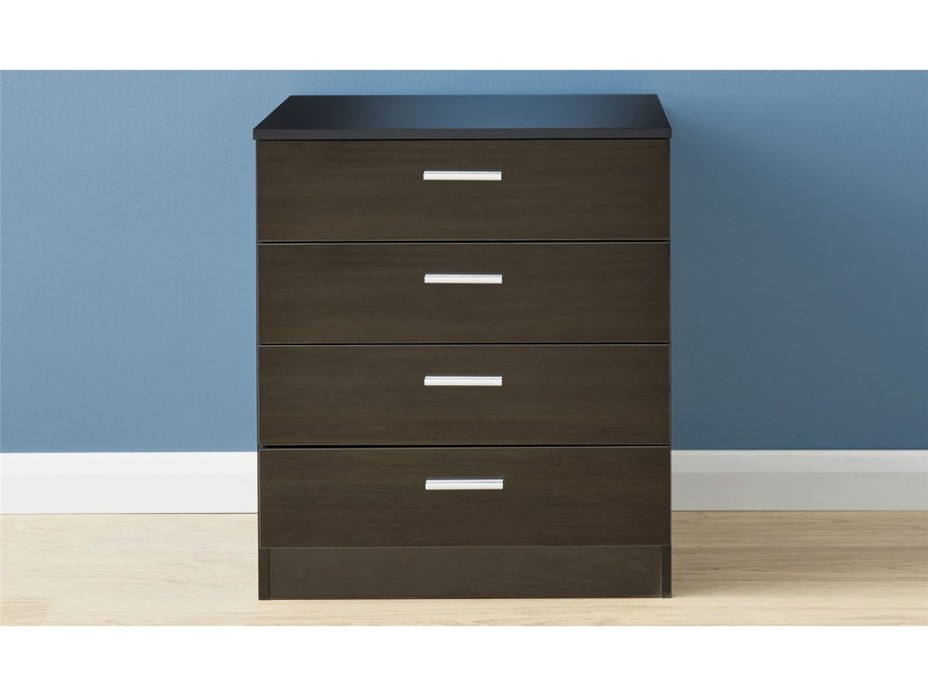 Contemporary Melbourne Gloss Black 4 Drawer Bedroom Chest