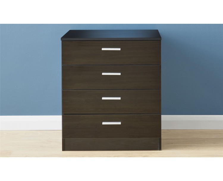 Melbourne 4 Drawer Chest Bedroom Furniture Black/Black