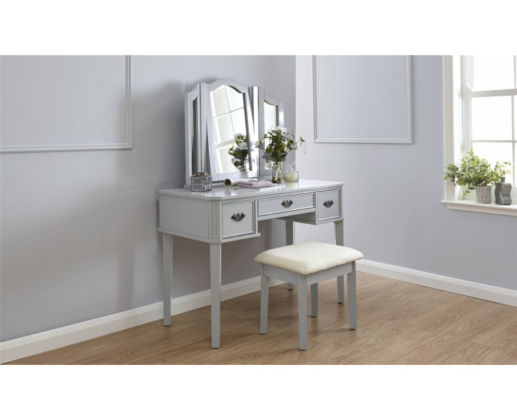Grey Bella 3 Mirror 3 Drawers Dressing Table With Stool Set