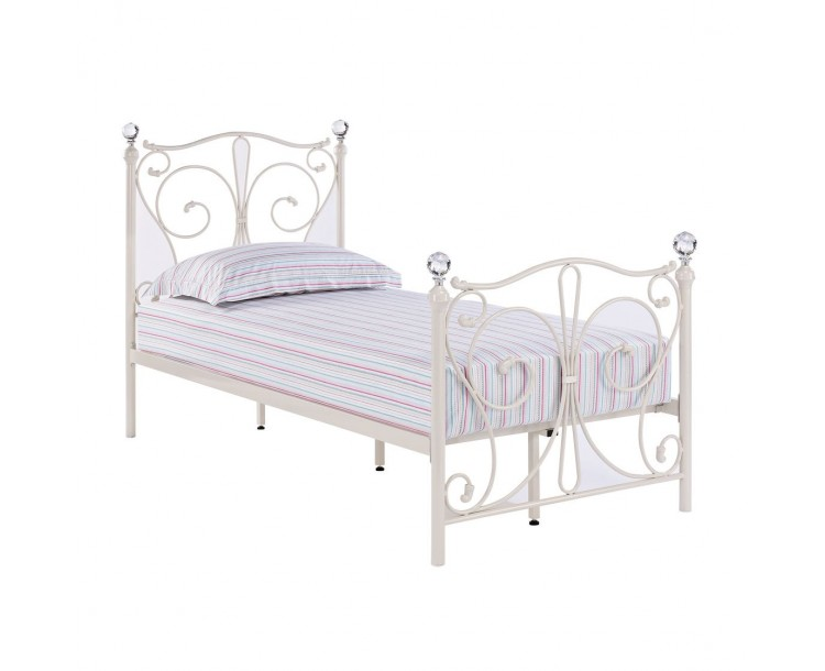 Florence White 3FT Single Bed Crystal Finials