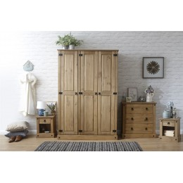 Inca Mexican 4 Piece Set Bedroom Furniture Wardrobe 3 Drawer Chest Bedside Table
