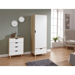 Stockholm 1 Door Wardrobe Bedroom Furniture White Oak