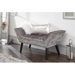 Marais Window Seat With Nailhead Trim Grey Crushed Velvet