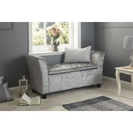Verona Window Seat Grey Crushed Velvet