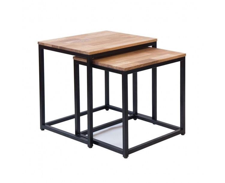 Mirlelle Nest of Tables Solid Oak Black Metal Frame