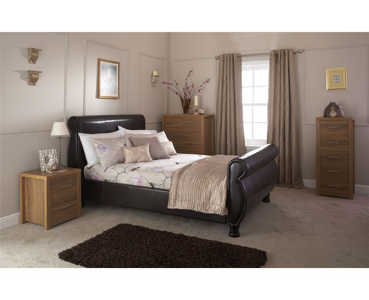 Faux Leather Brown Chicago 5ft 150cm Kingsize Bed Frame