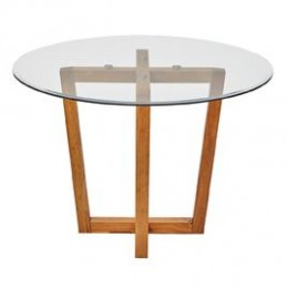 Valencia Dining Table Oak with Glass Top