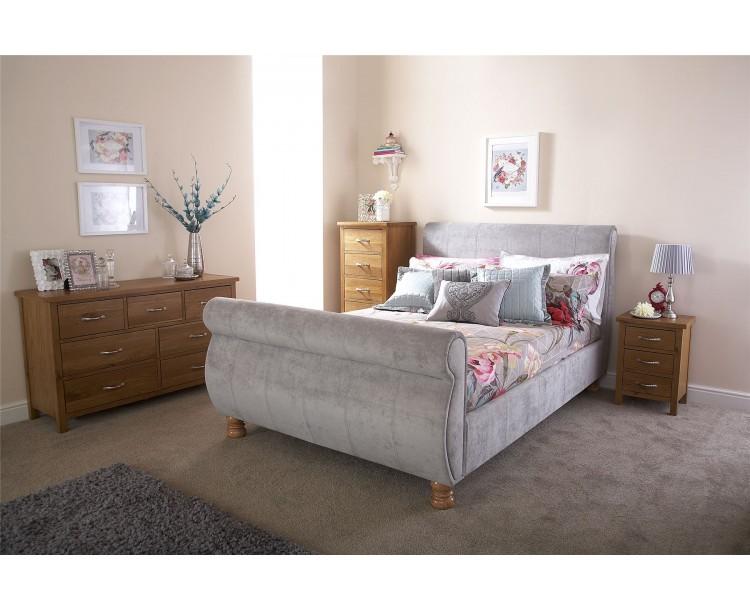 Silver Chicago Chenille Fabric 5ft 150cm Kingsize Bed Frame