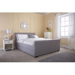 Grey Hopsack Hannover 5ft Kingsize 150cm Four Drawer Bed Frame