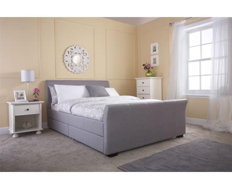 Grey Hopsack Hannover 5ft Kingsize 150cm Four Drawer Bed Frame