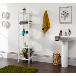 White Tall Narrow Bergen 5 Tier Open Shelving Occasional Bathroom Hallway Unit