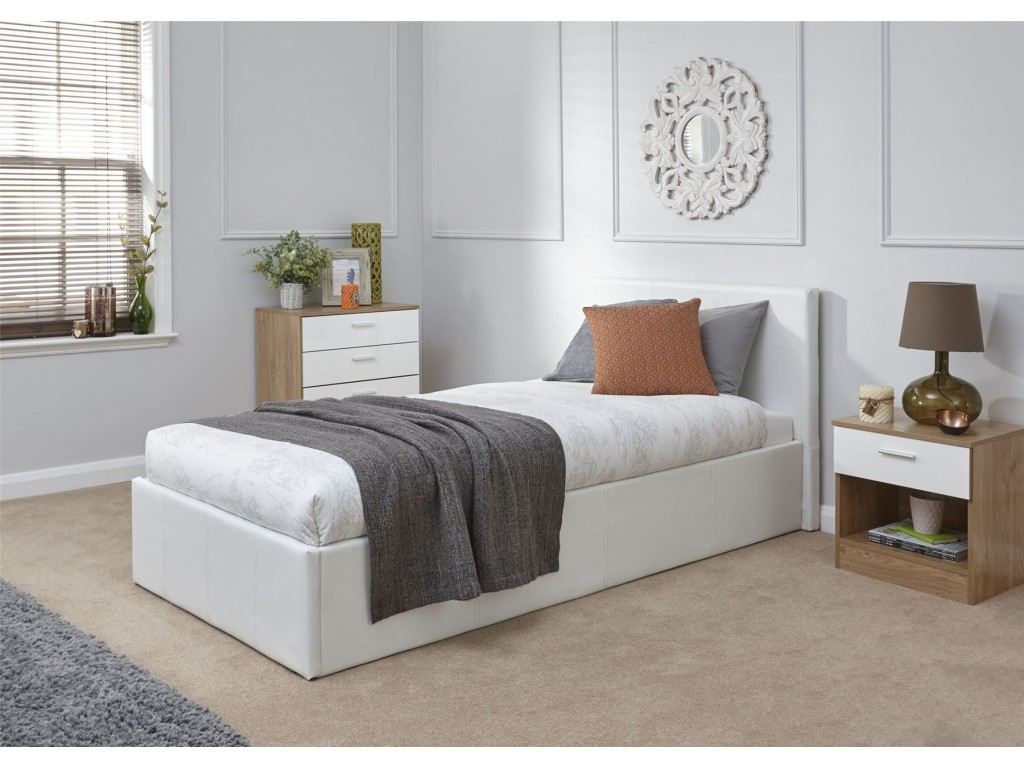 Picture of: Faux Leather White 90cm 3ft Single End Lift Ottoman Storage Bed