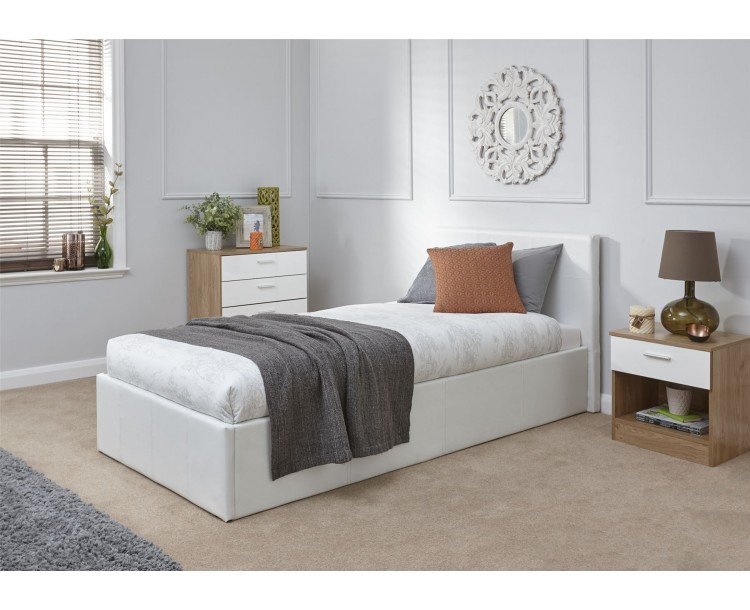 Faux Leather White 90cm 3ft Single End Lift Ottoman Storage Bed Frame