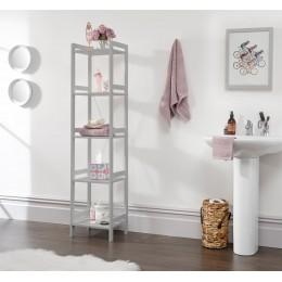 Tall Narrow Grey Bergen 5 Tier Open Shelving Occasional Bathroom Hallway Unit