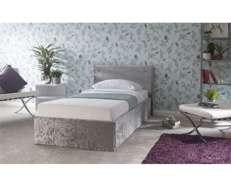 3ft Single Side Lift 90cm Bed Bedframe Crushed Velvet