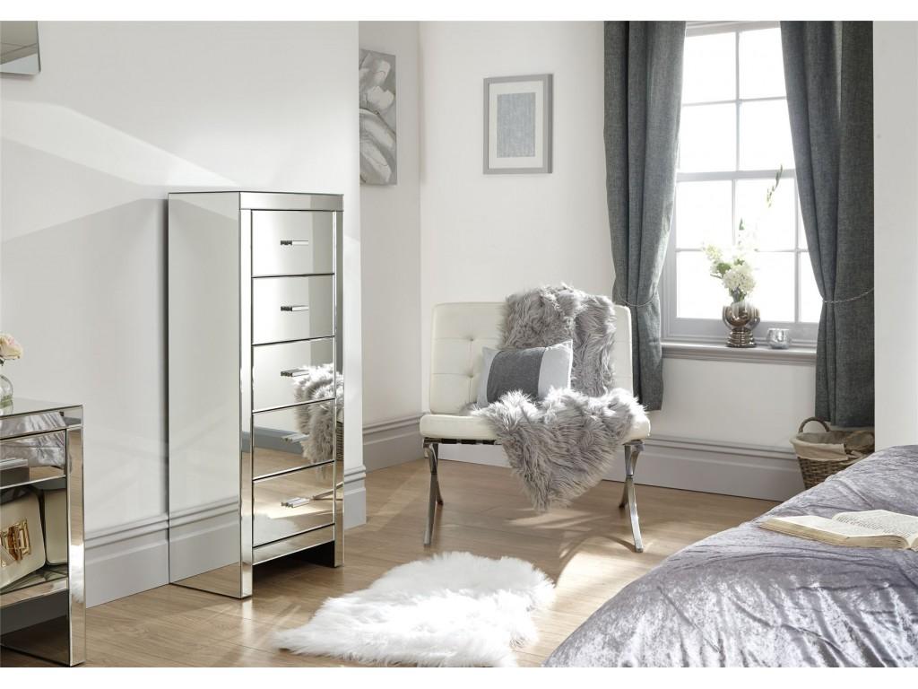 Venetian Clear Mirror 5 Drawer Tallboy Chest Bedroom Furniture