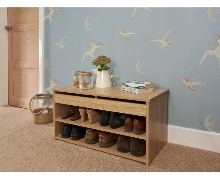 Oak Budget Lift Up 2 Section Storage Shoe Hallway Cabinet