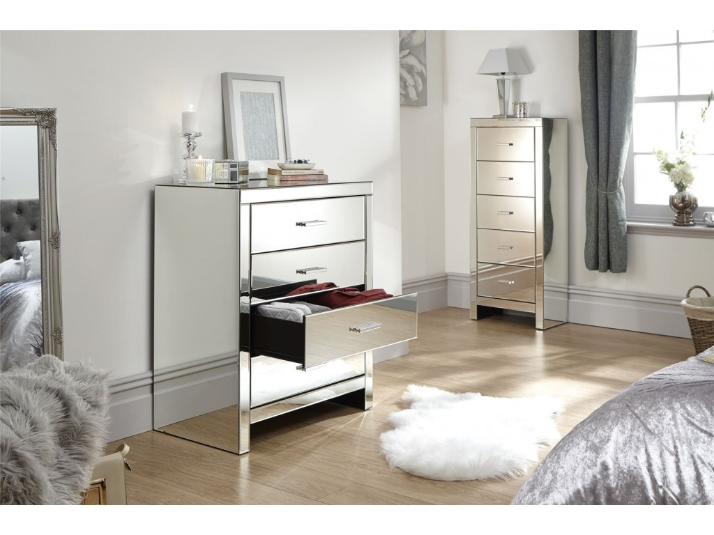 contemporary venetian clear mirror 4 drawer bedroom chest