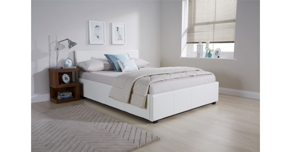 White Faux Leather Side Lift Ottoman Bed 5ft Kingsize