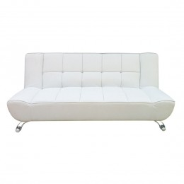 Vogue Sofa Bed White Faux Leather