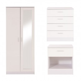 Ottawa 3 Piece Bedroom Set Mirror Wardrobe 4 Drawer Chest Bedside Cabinet White